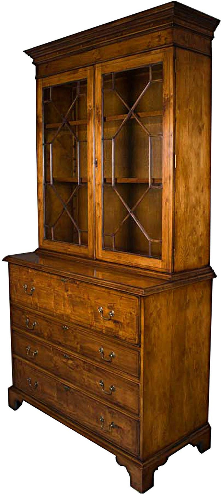 English Yew Wood Secretaire Secretary Bookcase Butlers Desk For Sale 3