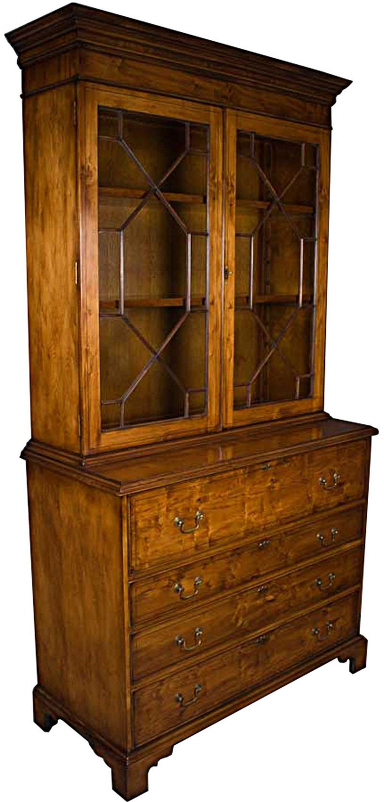 English Yew Wood Secretaire Secretary Bookcase Butlers Desk For Sale 4
