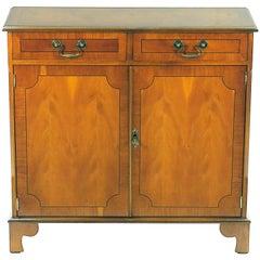 English Yew Wood Small Narrow Side Cabinet