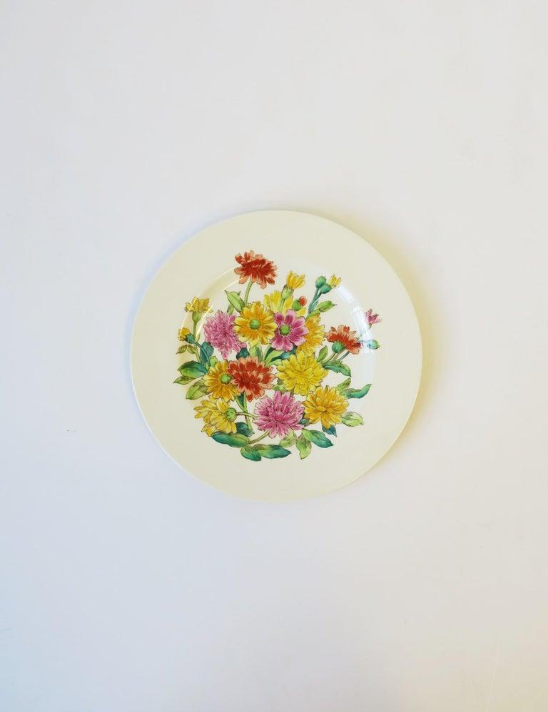 Glazed English Zinnia Flower Plate