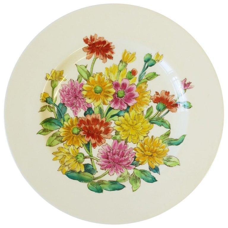 English Zinnia Flower Plate