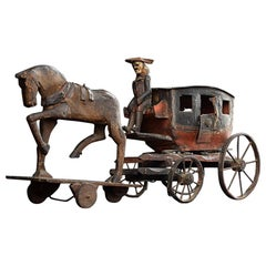 Englsh 19th Century Folkart Scratch Built Toy Horse and Carriage