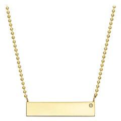 Engraveable 18k Yellow Gold Horizontal Bar Pendant