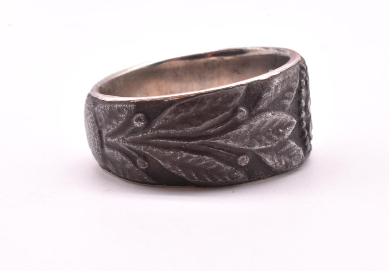 Aesthetic Movement Engraved 1915 Steel Signet Ring For Sale