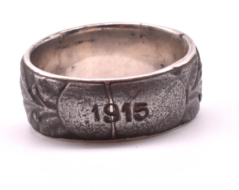 Women's or Men's Engraved 1915 Steel Signet Ring For Sale