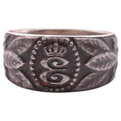 Engraved 1915 Steel Signet Ring