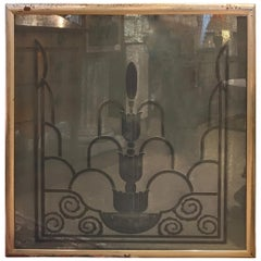 Engraved Art Deco Mirror, 1920s from the Waldorf Astoria