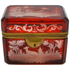 Engraved Bohemian Crystal Box, Napoleon III