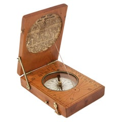 Engraved Boxwood Book Shaped Sundial Antique Time Measuring Instrument 1800s