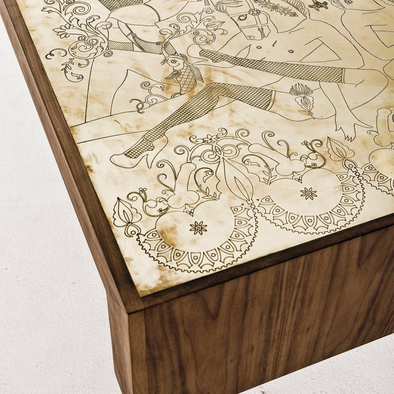 The Burlesque table embodies the playful spirit often evident in the works of Egg Designs.  For this table Egg collaborated with Kim Longhurst a South African illustrator to develop the burlesque design which is engraved into the solid brass top, a