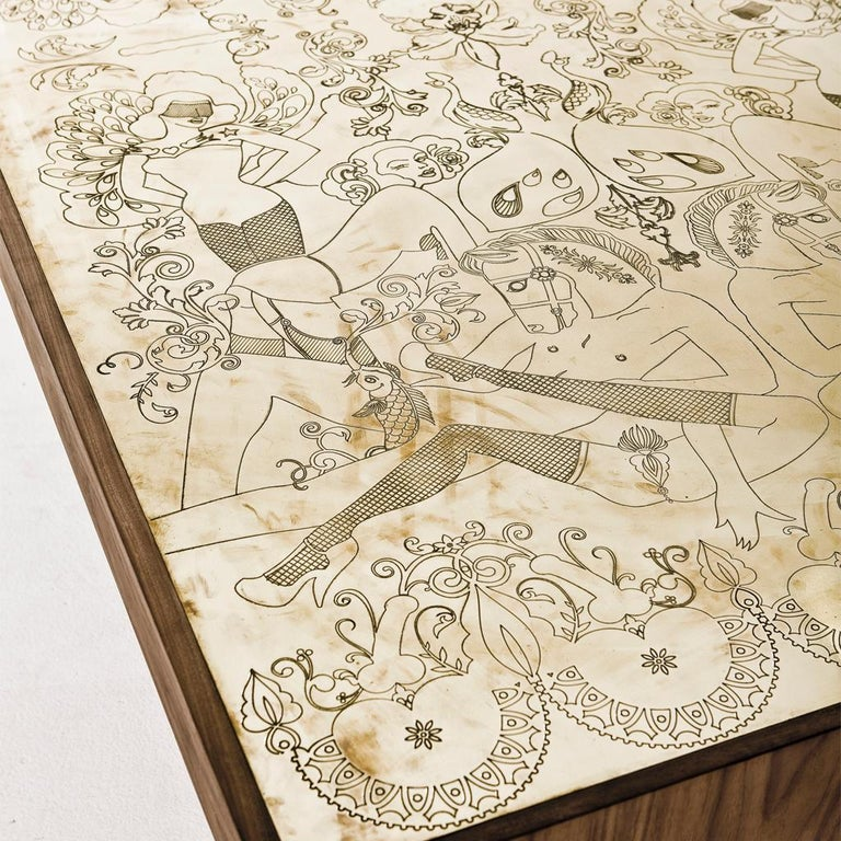 Modern Engraved Brass, Walnut, and Lacquered Wood Burlesque Dining Table by Egg Designs For Sale