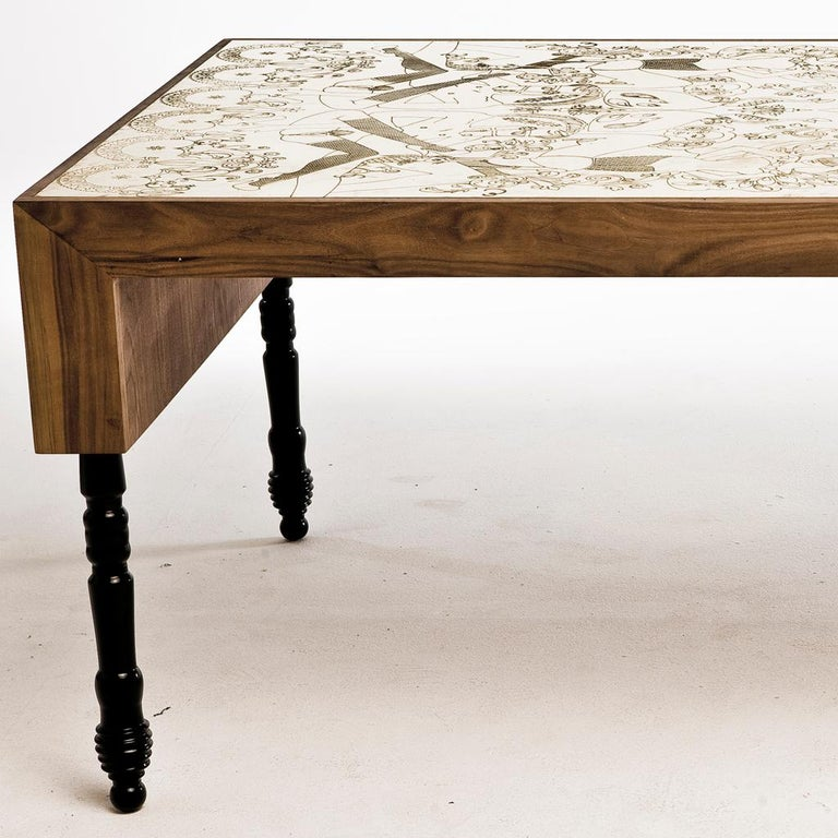 South African Engraved Brass, Walnut, and Lacquered Wood Burlesque Dining Table by Egg Designs For Sale