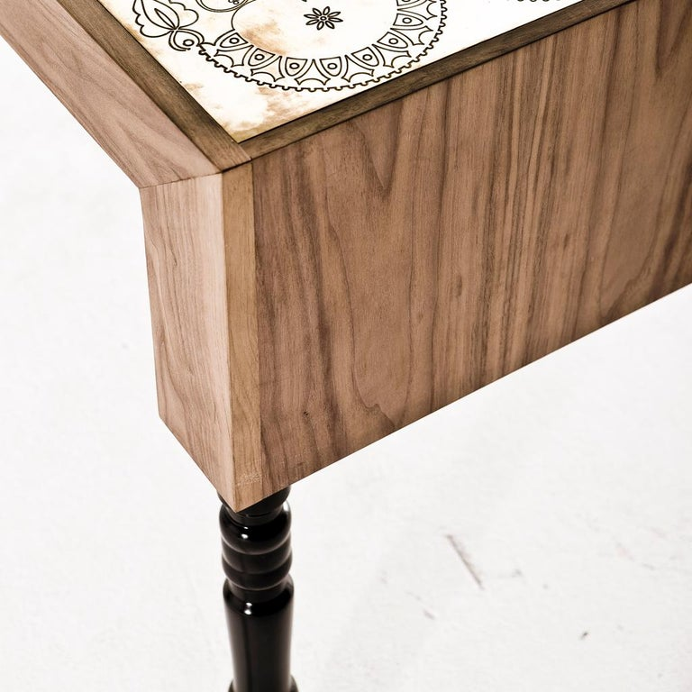 Etched Engraved Brass, Walnut, and Lacquered Wood Burlesque Dining Table by Egg Designs For Sale