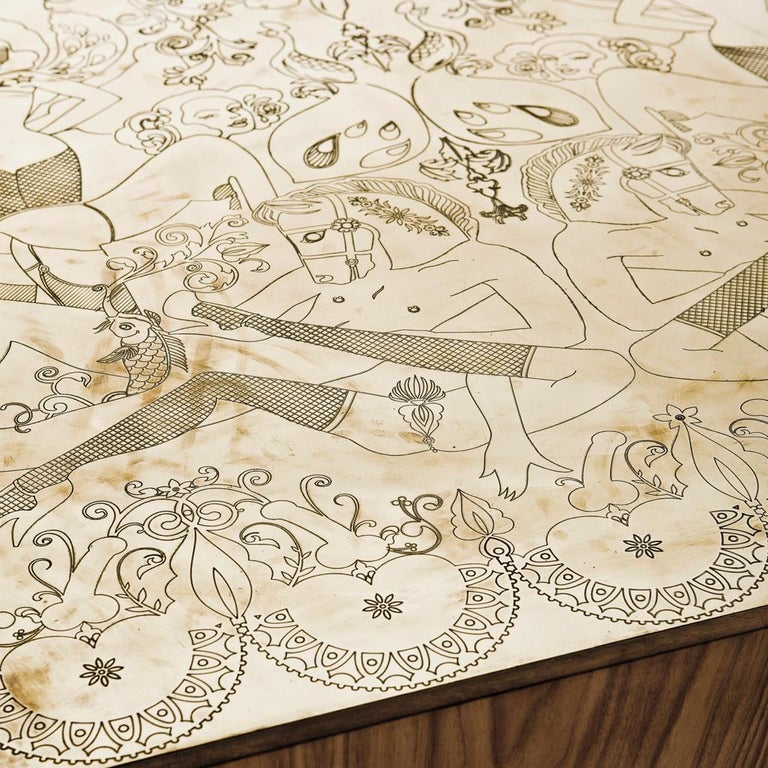 Engraved Brass, Walnut, and Lacquered Wood Burlesque Dining Table by Egg Designs In New Condition For Sale In Bothas Hill, KZN