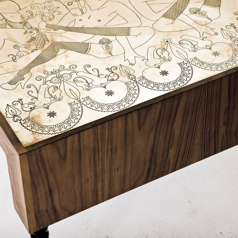 Contemporary Engraved Brass, Walnut, and Lacquered Wood Burlesque Dining Table by Egg Designs For Sale