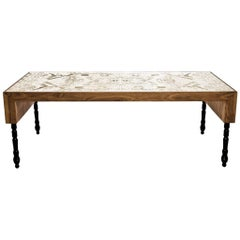 Engraved Brass, Walnut, and Lacquered Wood Burlesque Dining Table by Egg Designs