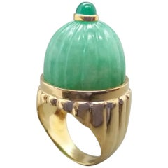 Engraved Burma Jade Cabochon Emerald Cabochon 14 Karat Solid Yellow Gold Ring