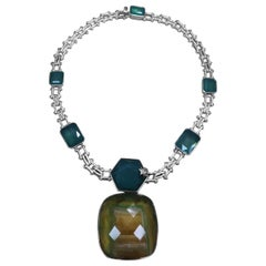Stephen Dweck Engraved Chain & Green Agate with a Fluorite Centerpiece Choker