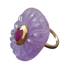 Engraved Cushion Shape Natural Amethyst Faceted Oval Ruby Gold Cocktail Ring