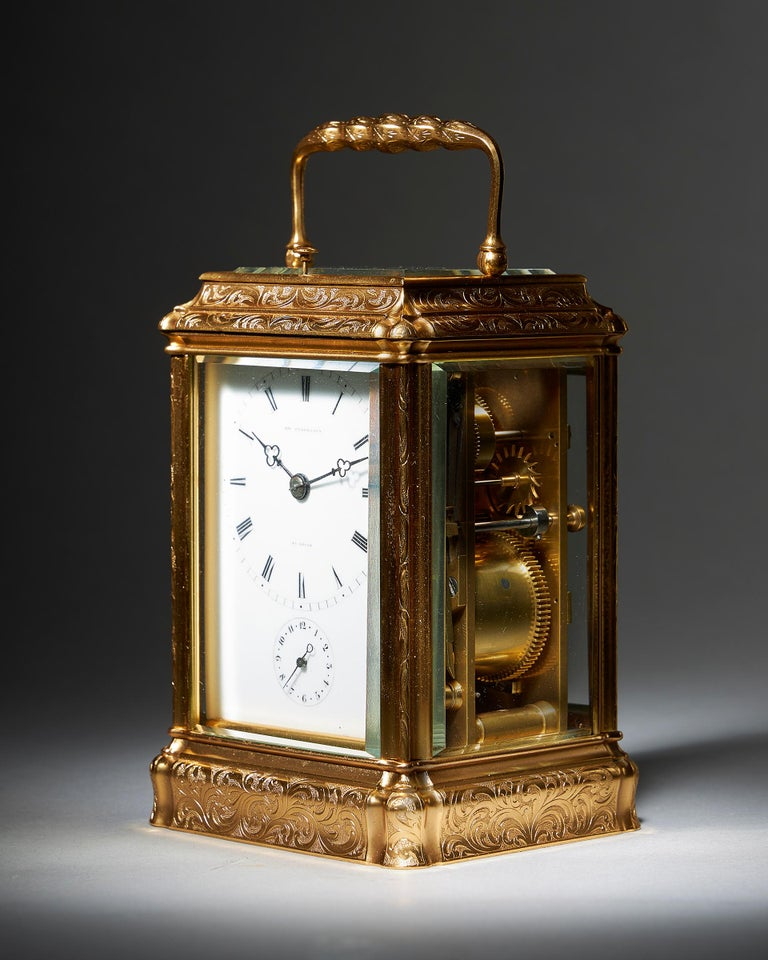 A superb high quality eight-day striking and repeating carriage clock, signed on the enamel dial PERREGAUX AU LOCLE, circa 1870.