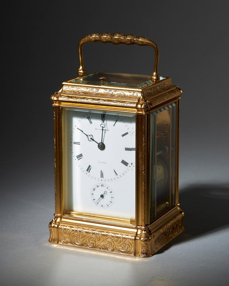 Neoclassical Engraved Eight-Day Striking and Repeating Carriage Clock by Perregaux Au Locle For Sale