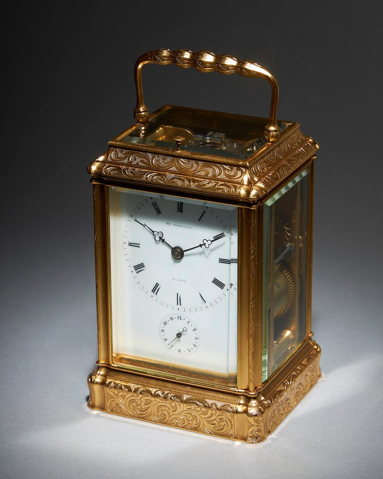 French Engraved Eight-Day Striking and Repeating Carriage Clock by Perregaux Au Locle For Sale