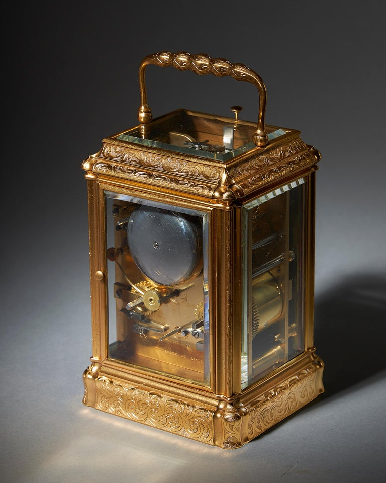 Engraved Eight-Day Striking and Repeating Carriage Clock by Perregaux Au Locle In Good Condition For Sale In Buscot, Oxfordshire