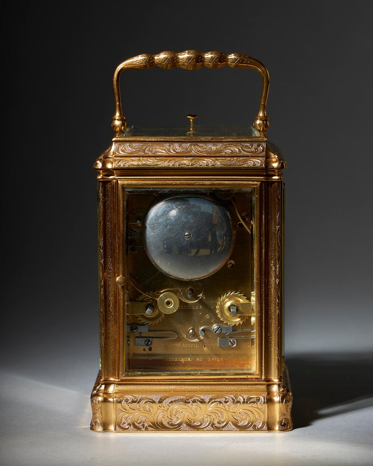 19th Century Engraved Eight-Day Striking and Repeating Carriage Clock by Perregaux Au Locle For Sale