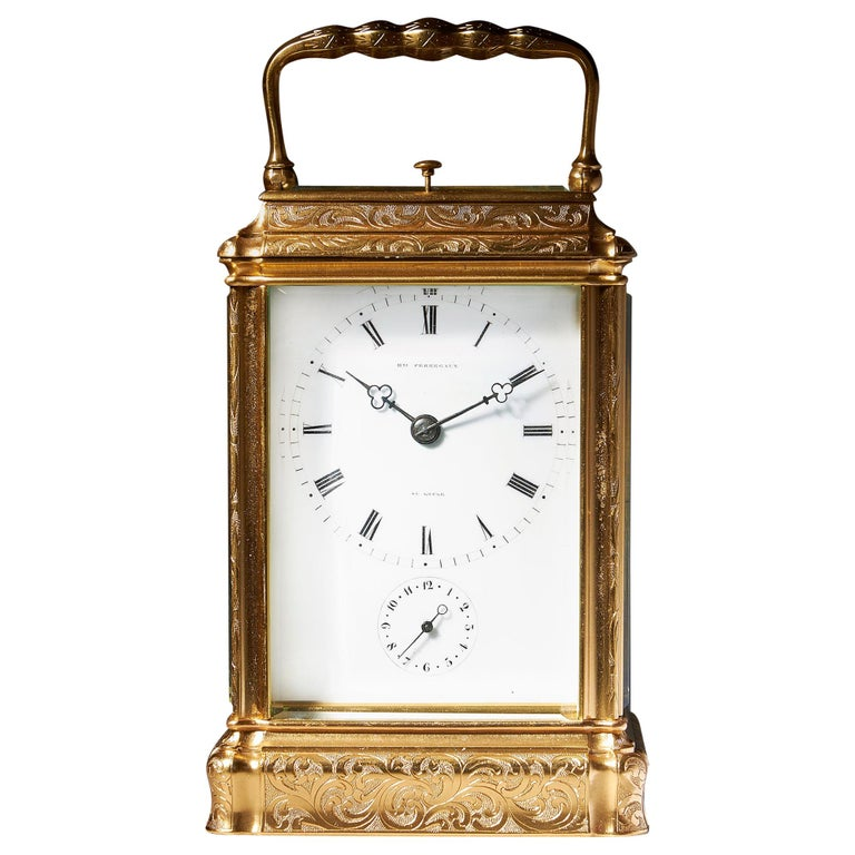 Engraved Eight-Day Striking and Repeating Carriage Clock by Perregaux Au Locle For Sale