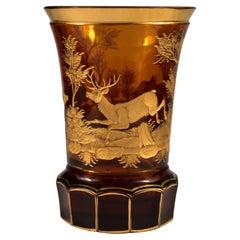 Engraved Gilded Amber Glass Goblet, Bohemian Glass 20th Century
