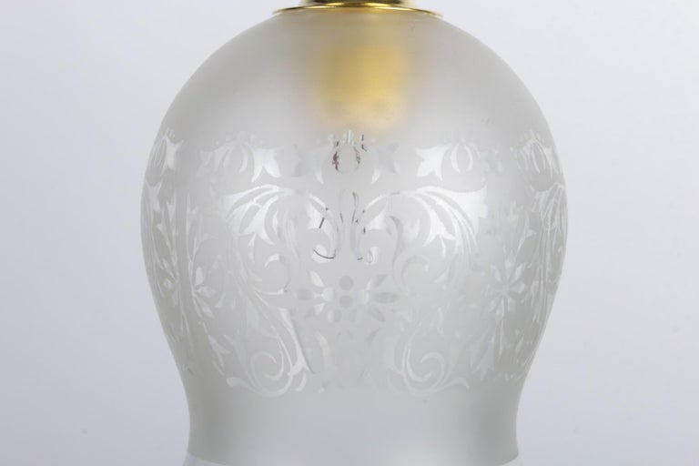 European Engraved Glass Hanging Lamp For Sale