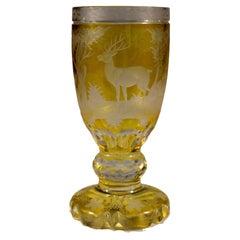 Engraved Goblet, Yellow Lazure, Bohemian Glass 20th Century