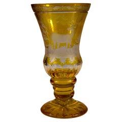 Engraved Goblet, Yellow Lazure, Bohemian Glass, 20th Century