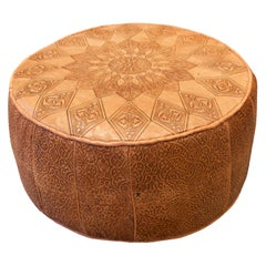 Engraved Leather Moroccan Pouf