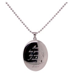 Engraved Locket Necklace w Urn to Hold Loved One's Ashes, Has One Diamond