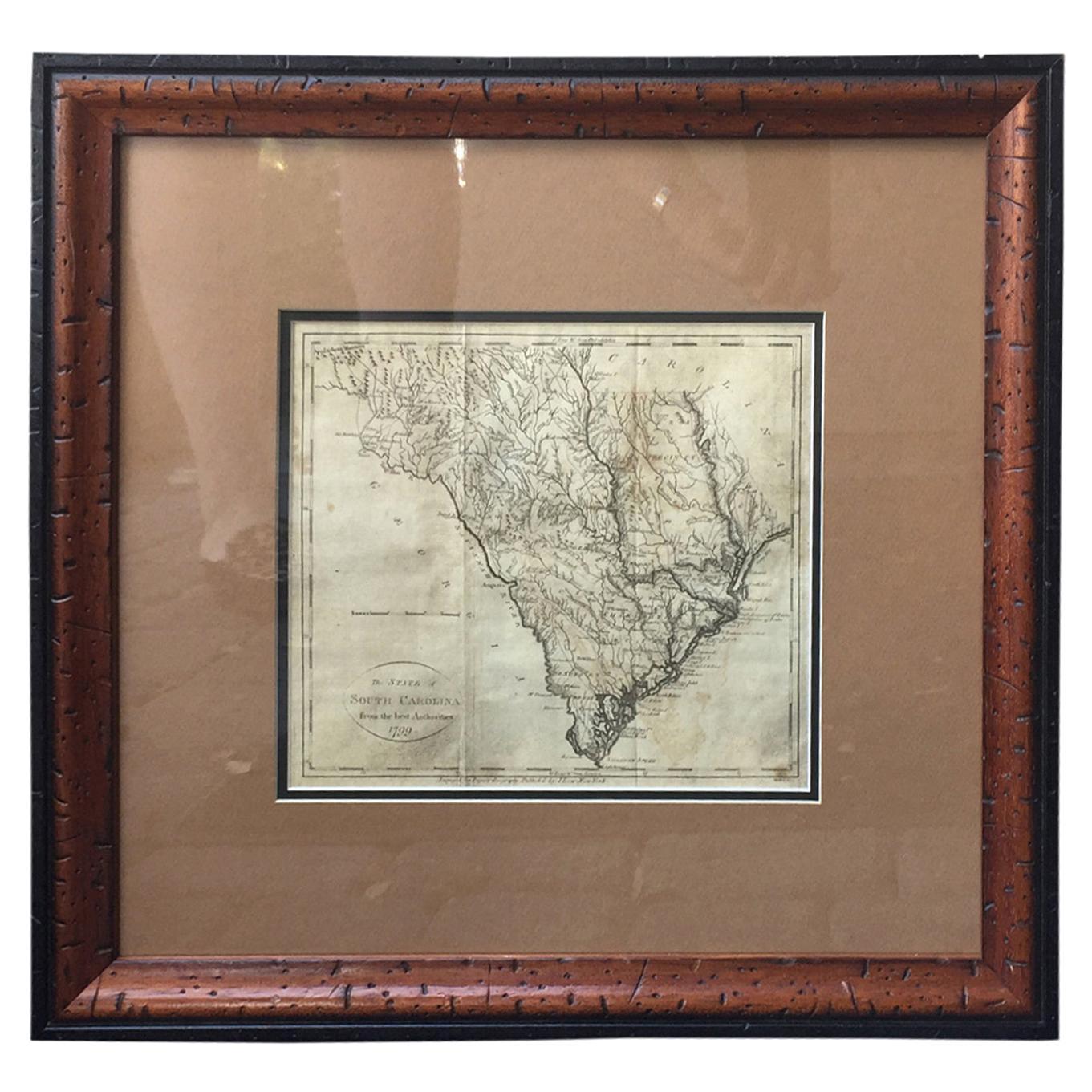 Engraved Map of South Carolina from John Payne's Book, circa 1799