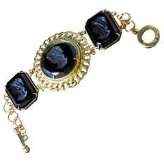 Engraved Murano Glass and Bronze Italian Bracelet by Patrizia Daliana