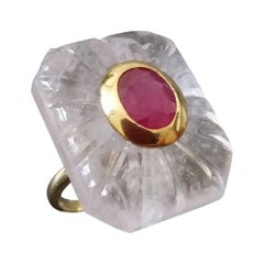 Engraved Octagon Shape Rock Crystal Faceted Oval Ruby 14 Kt Yellow Gold Ring
