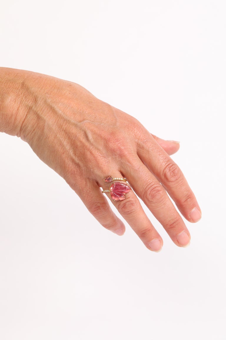 Engraved Pink Tourmaline Leaves Ring Created by Marion Jeantet For Sale 5