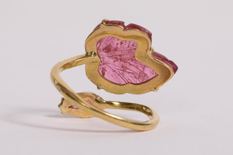 Women's Engraved Pink Tourmaline Leaves Ring Created by Marion Jeantet For Sale