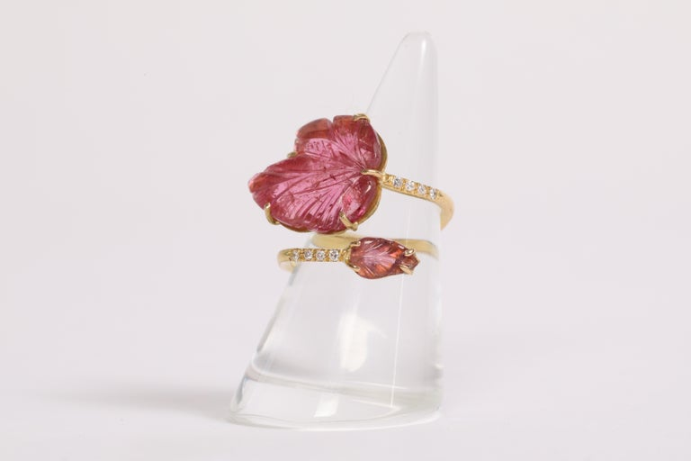 Engraved Pink Tourmaline Leaves Ring Created by Marion Jeantet For Sale 2