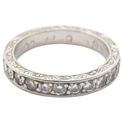 Engraved Platinum Round Brilliant 0.25 Carat Diamond Band