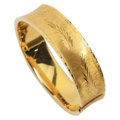 Engraved Satin 14 Karat Yellow Gold Bangle Bracelet