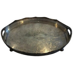 Engraved Silver Plate Serving Tray with Monogram
