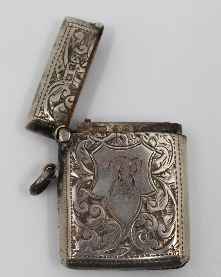 Engraved Sterling Silver Vesta Case, Birmingham, 1915 For Sale 1