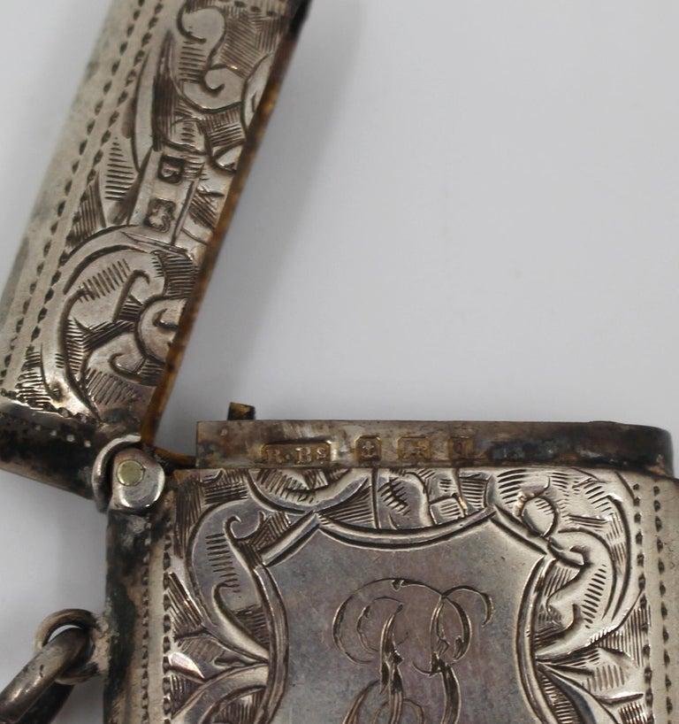 Engraved Sterling Silver Vesta Case, Birmingham, 1915 For Sale 2