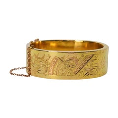 Engraved Wide Yellow Gold Antique Bangle Bracelet