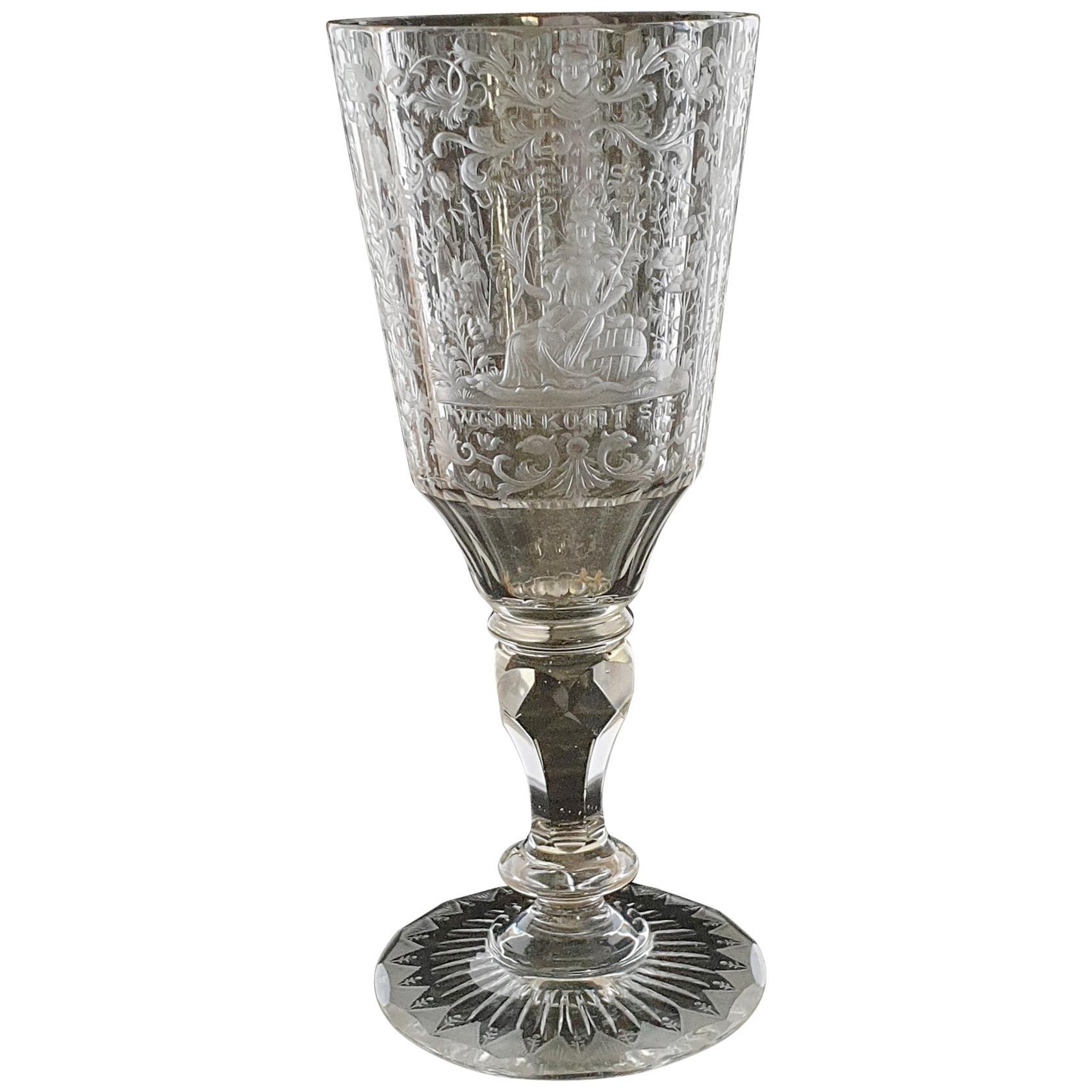 Engraved Wine Glass, Silesia, circa 1740