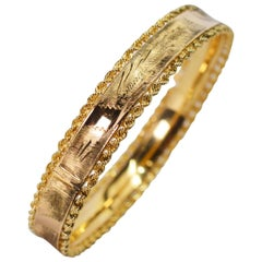Engraved Yellow Gold Rope Bangle Bracelet