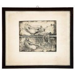 """Engraving """"Figure 2-R old man"""", Author Maria Korusiewicz"""